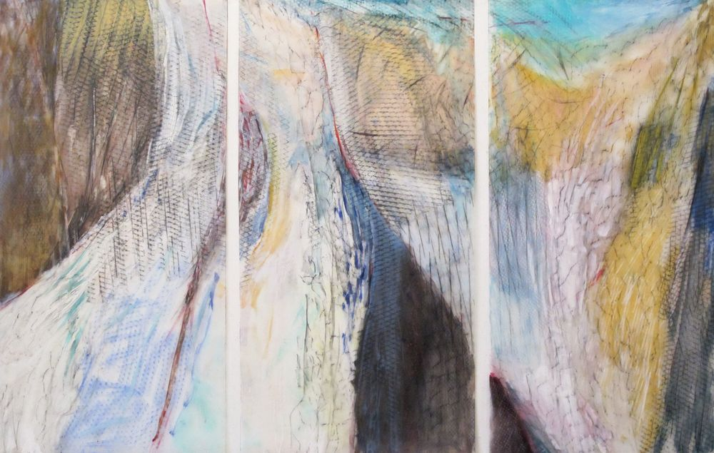 Lexan Ice Fall oil graphite pastel on lexan Tryptic 4ft x 6ft 8in x 2 in.jpg