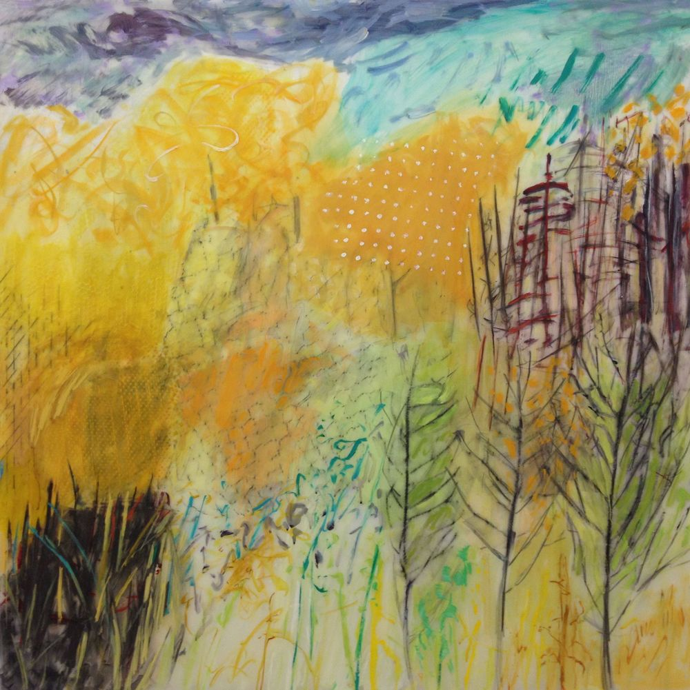 Lexan Yellow Trees oil mixed media on Lexan 48 x 48 in.jpg
