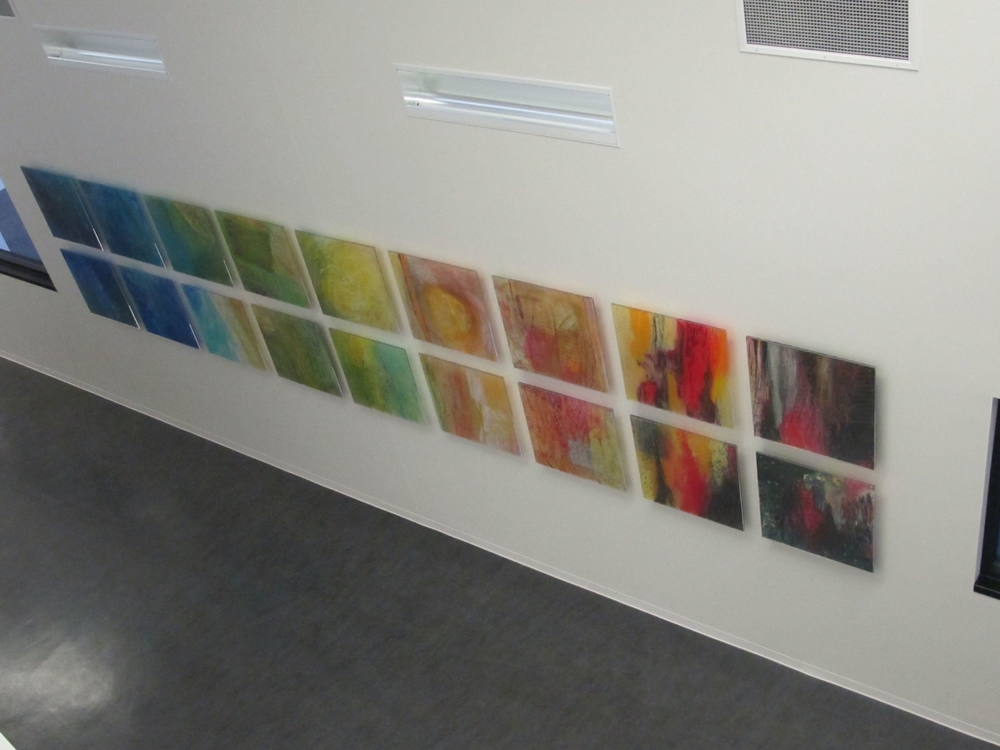 P Elemental installed 18 modules 24 x 24 in (4 ft 4 in x 20 ft 8 in) oil mixed media on lexan in Plexi Cardinal Collins High School 2014.jpg