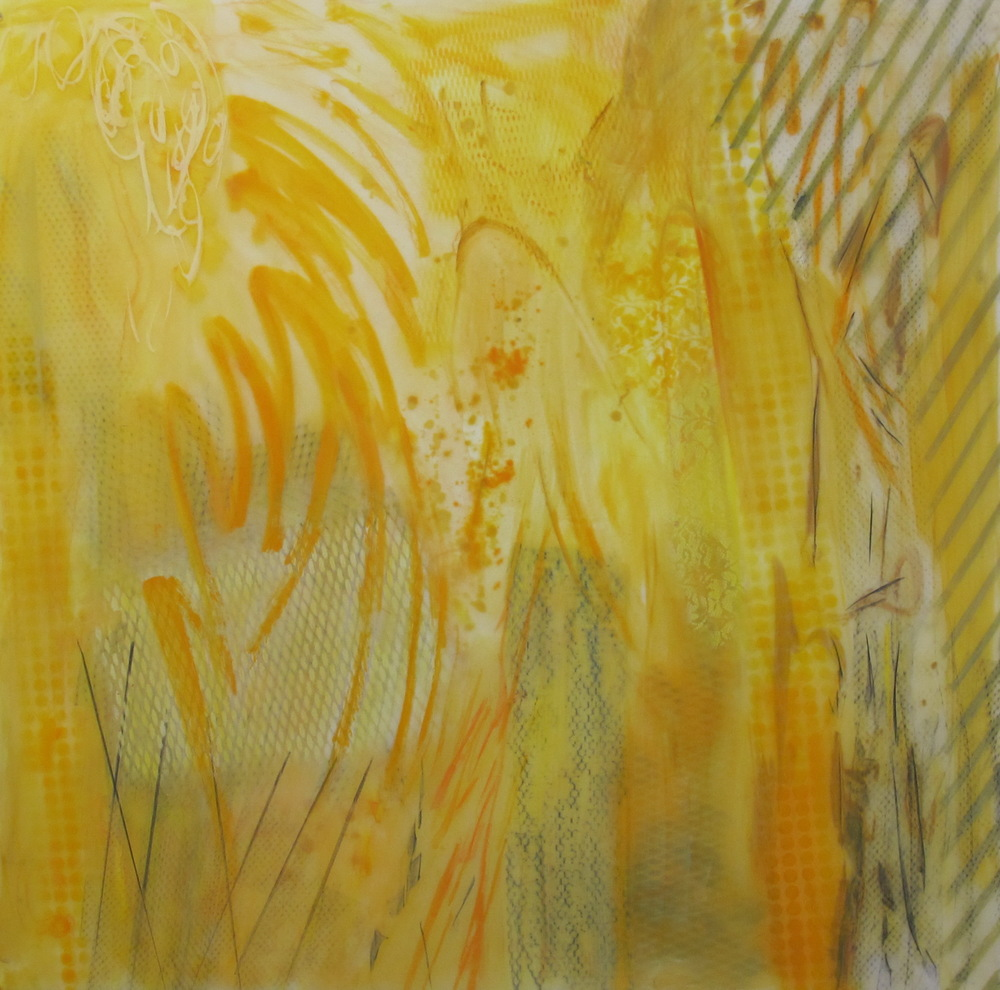 22. Earth Scape 18 Yellow Arranged  oil graphite pastel spray on lexanon plexi 48 x 48 inches.jpg
