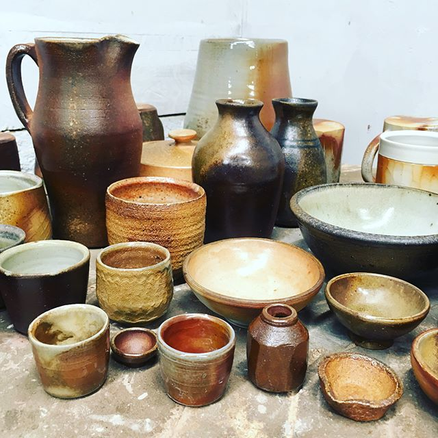 Lots of fresh wood fired pots for Maine Pottery Tour this weekend.  Stop on by! #mainepotterytour #openstudio #potterysale #woodfired