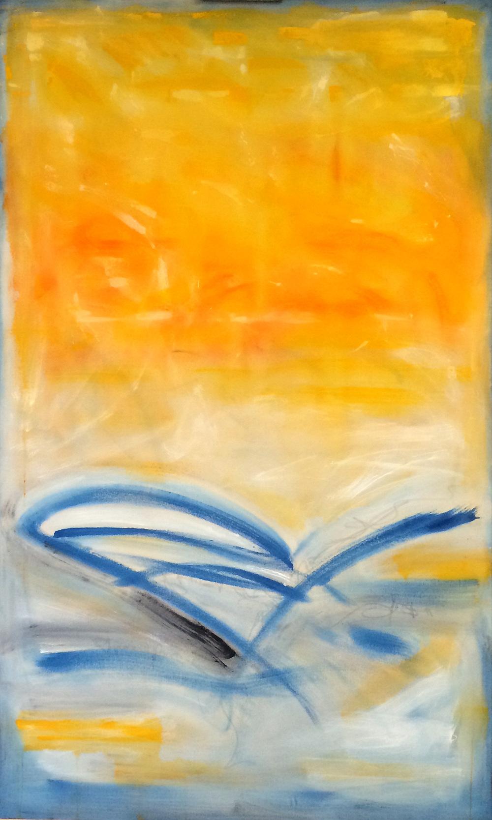 "Indigo Flight, 60x36,"" Acrylic, Latex, Graphite, Pastel"