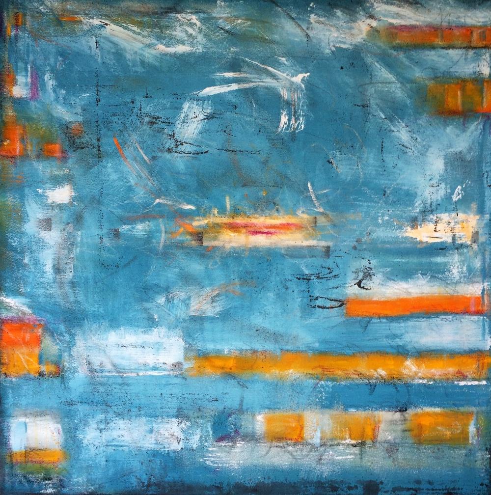 "Mississippi River I, 30x30,"" Acrylic, Pastel, Graphite, Latex"