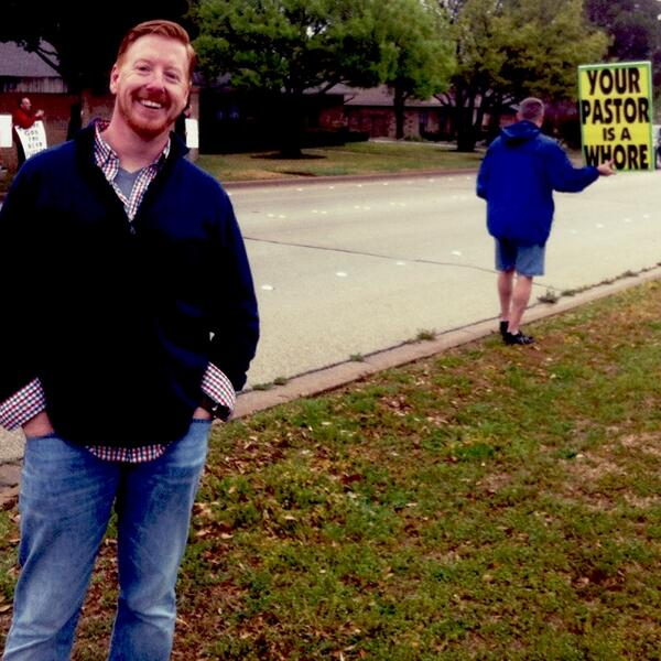 Wes Hamilton, Lead Pastor at Hulen Street Church in Fort Worth, TX, with protestors from Westboro Baptist Church.