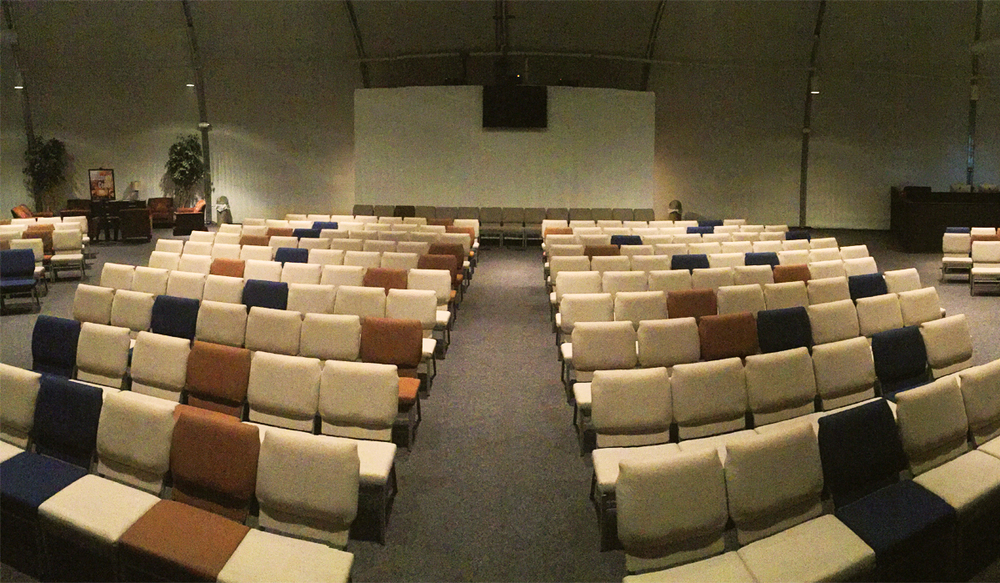 Panoramic view of the Worship Center at Hulen Street Church in Fort Worth, TX