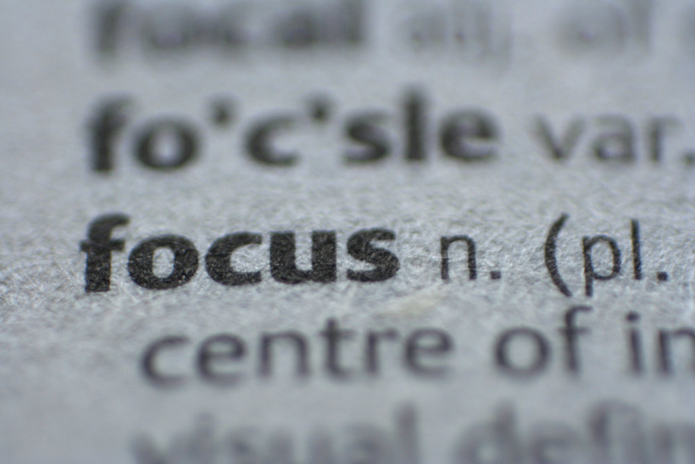 "focusing on the word ""focus"" in the dictionary"