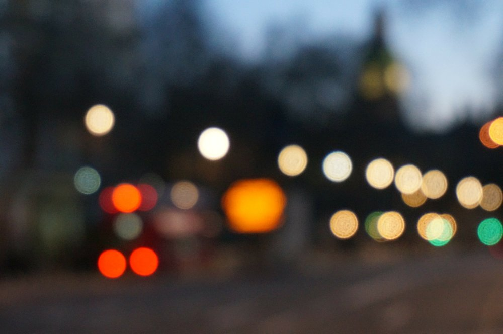 a downtown scene made up of bokeh to achieve a burry vision effect