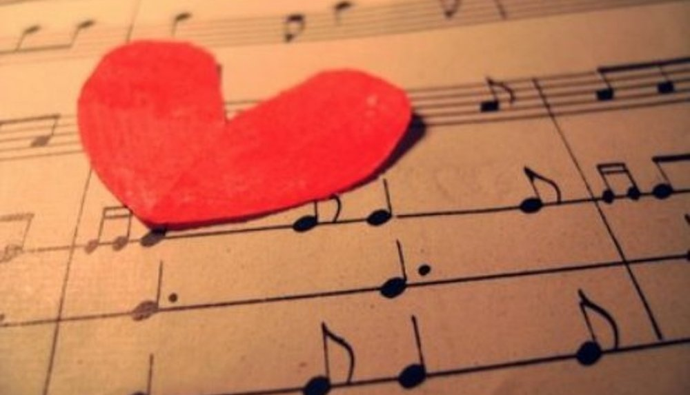 paper heart on sheets of music (no people)