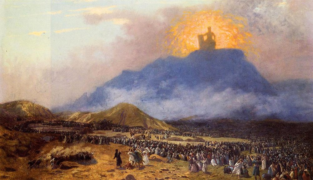 Mount Sinai with God atop, giving the ten commandments from the smoky, fiery mountain