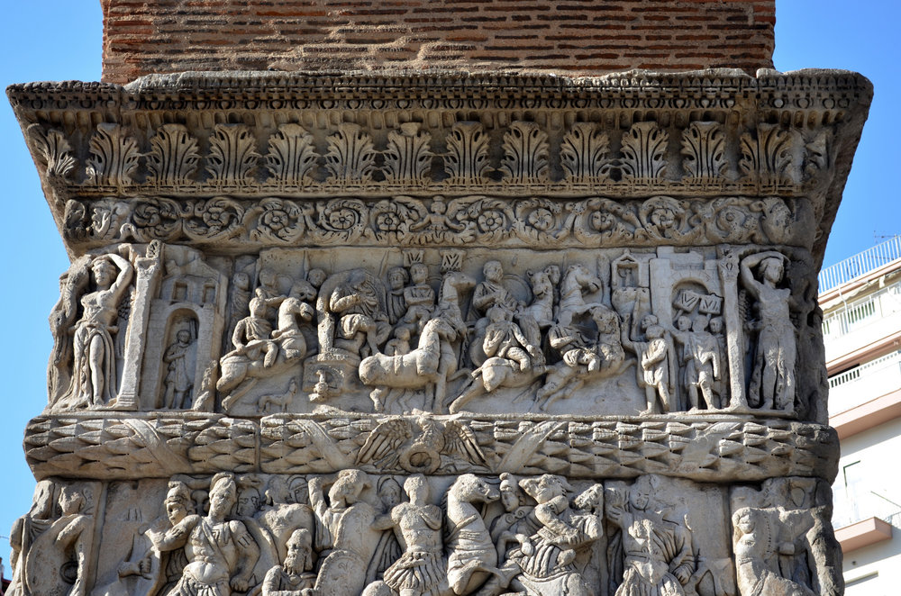Close up of the Arch of Galerius in Thessalonica, Greece