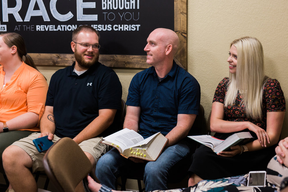 Hulen Street Growth Group during an interactive Bible study