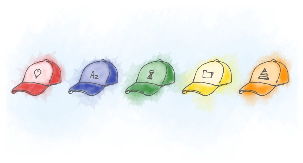 five cartoon drawn hats: red blue green yellow and orange