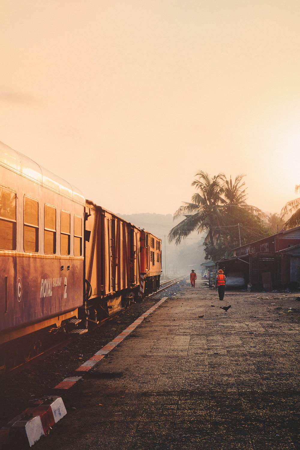 Beautiful morning and sunrise at the railway station in Sihanoukville.