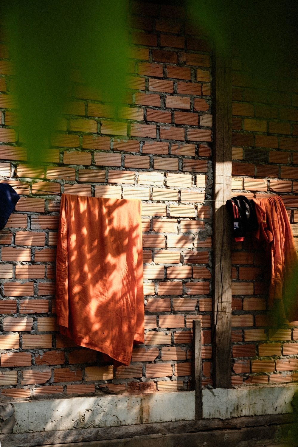 Monks clothing hang to dry.