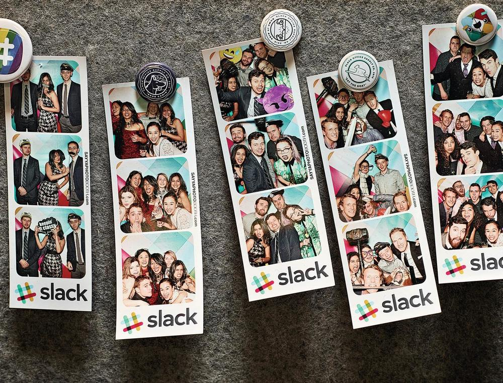 Photo strips taken of guests at Slack's one-year-anniversary party, held in February in San Francisco.