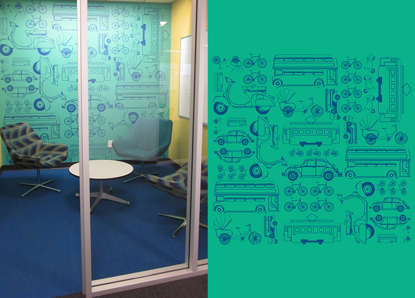 Expedia's transit-themed huddle room. Image © IA Interior Architects.