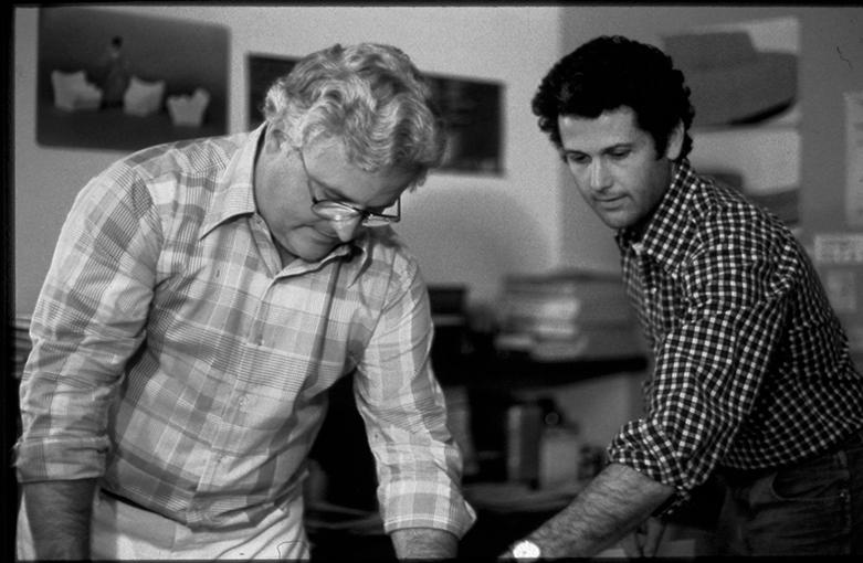 Bill Stumpf and Don Chadwick working on the original Aeron Chair