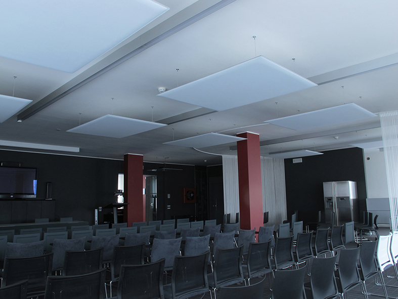 Oversize Ceiling panels in meeting room.JPG