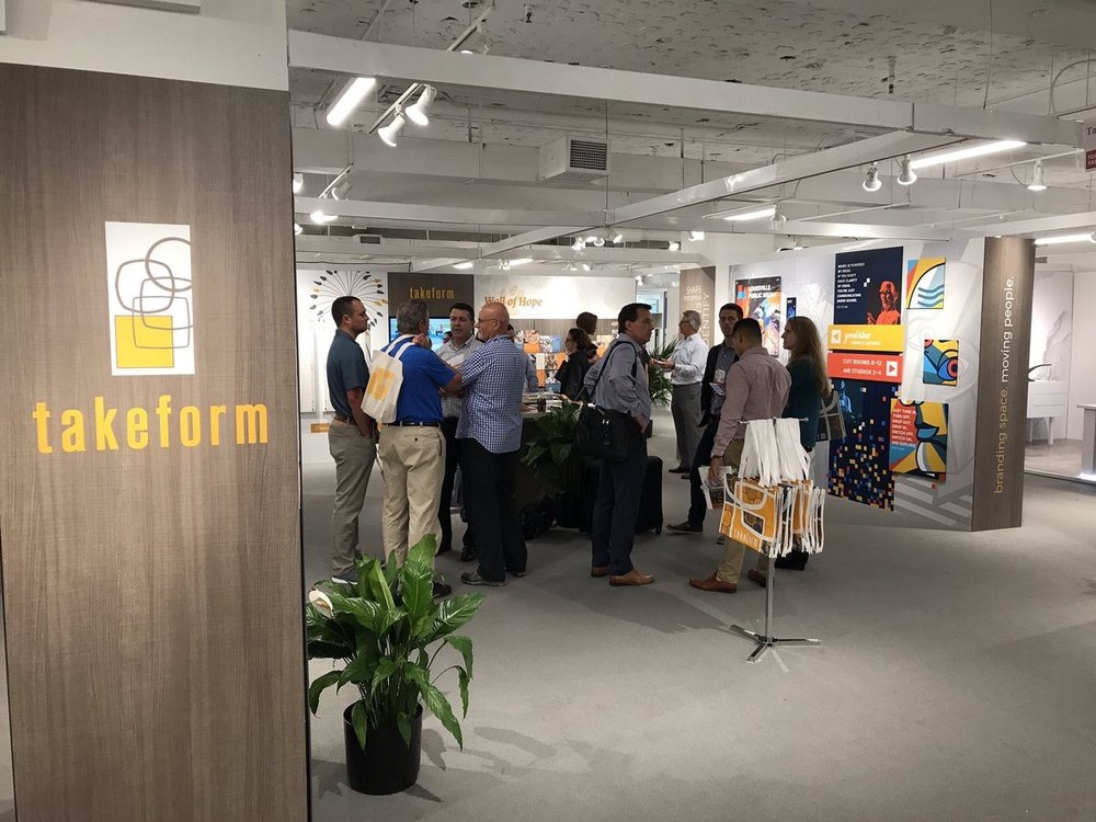 Takeform  Rep training in our #Neocon2017 booth today at #themart. @NeoCon_Shows @MerchMartEvents #design #signage #wayfinding #Chicago pic.twitter.com/orlbUqYMX0  Jun 11, 2017, 3:12 PM