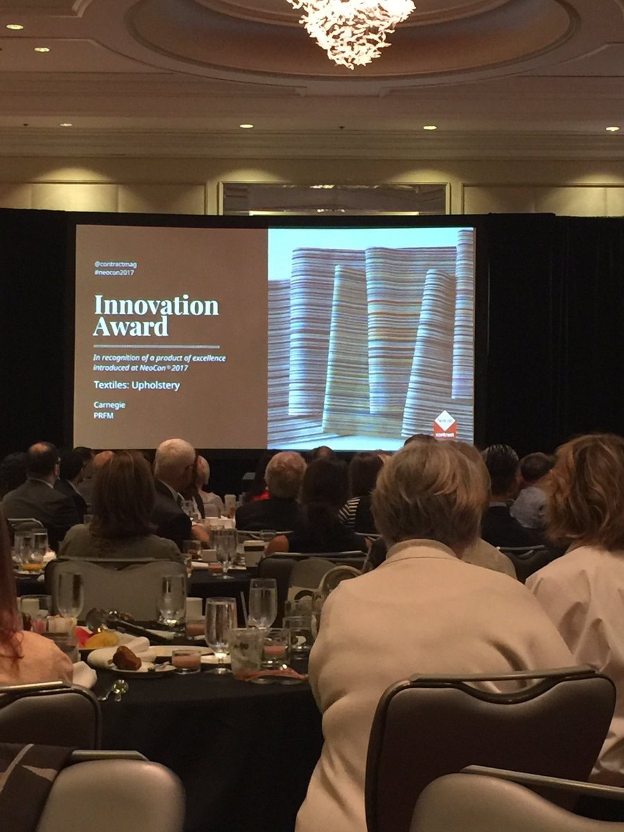 Carnegiefabrics  Very honored to announce that our new PFRM Collection won the #BestofNeocon Innovation Award for Textiles: Upholstery #NeoCon2017 pic.twitter.com/hqL99J2X8l  Jun 12, 2017, 8:32 AM