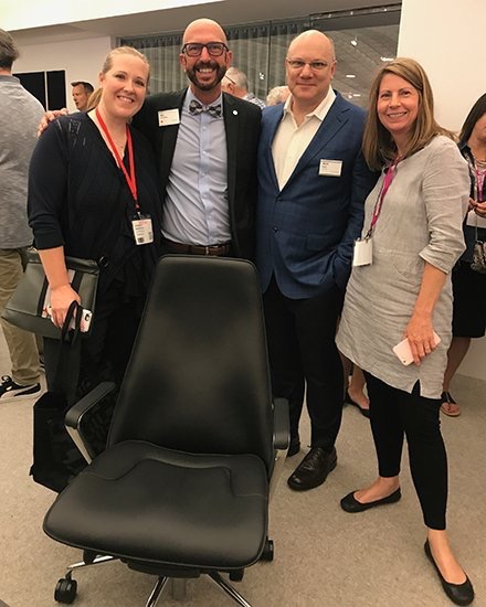 LeoADaly  We're touring @HermanMiller at #NeoCon2017 and admiring Mark Goetz's Taper Chair for Geiger. pic.twitter.com/I3t5OvTa9f  Jun 12, 2017, 12:28 PM