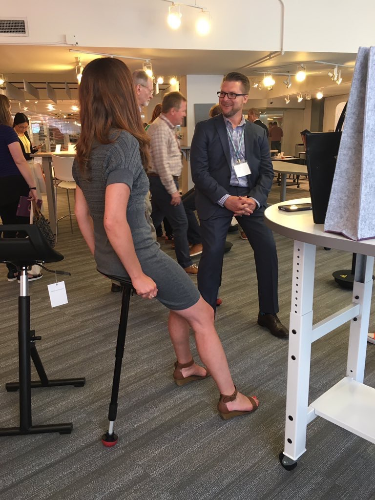 NBFonline  Learning all about active sitting at the @safcoproducts and Mayline showrooms! #NeoCon2017 #neocon pic.twitter.com/g9TPFwlHli  Jun 12, 2017, 1:13 PM