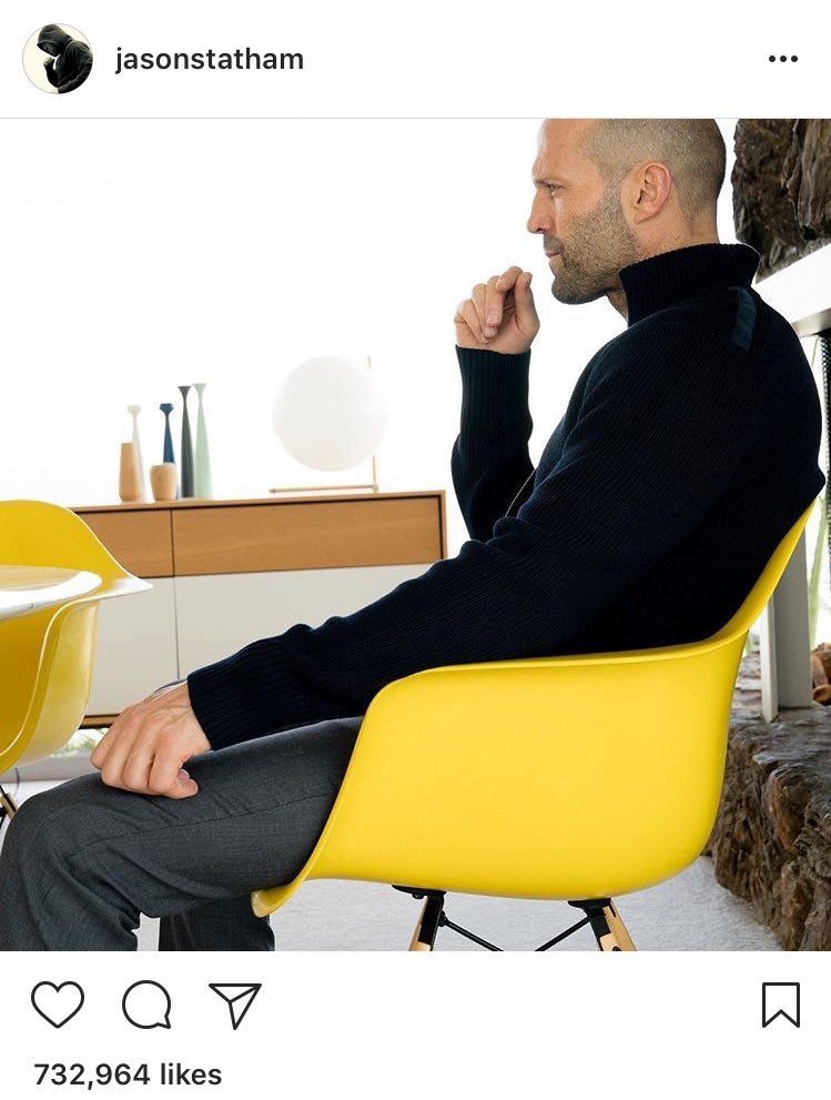 BenharOffice An important announcement... Actor Jason Statham somehow making the Eames Molded chairs EVEN cooler #HappyFriday @HermanMiller #Eames pic.twitter.com/ZCVcBCYgoi Aug 18, 2017, 11:32 AM