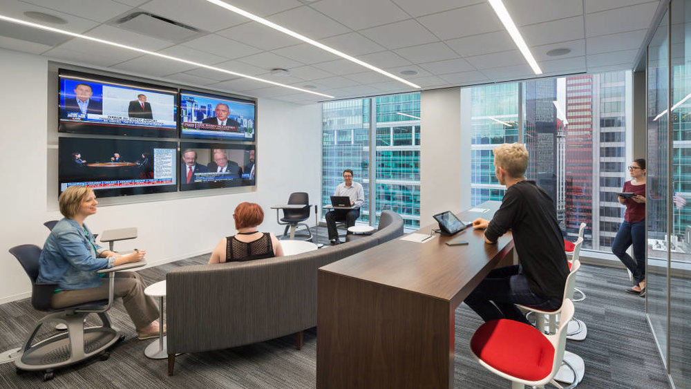 Teams can choose from a range of informal or enclosed meeting places, including several rooms with videoconferencing so remote employees can participate and contribute.