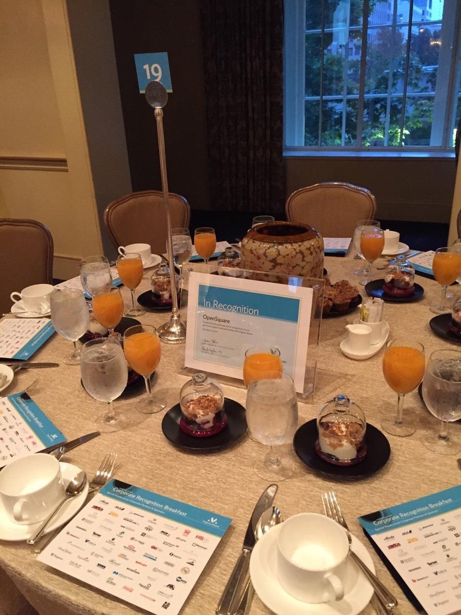 open_sq  Starting the morning with the Virginia Mason Partnership Breakfast - OpenSquare is proud to support their incredible work #vmpartners pic.twitter.com/X88ZZ88aY9  Oct 12, 2017, 10:07 AM