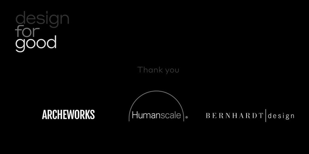 johncary  Big thanks to @ARCHEWORKS, @humanscale, @BernhardtInc, and everyone that made it out last night in #Chicago to support #DesignforGood. pic.twitter.com/T8KTYNWJfO  Oct 12, 2017, 12:07 PM