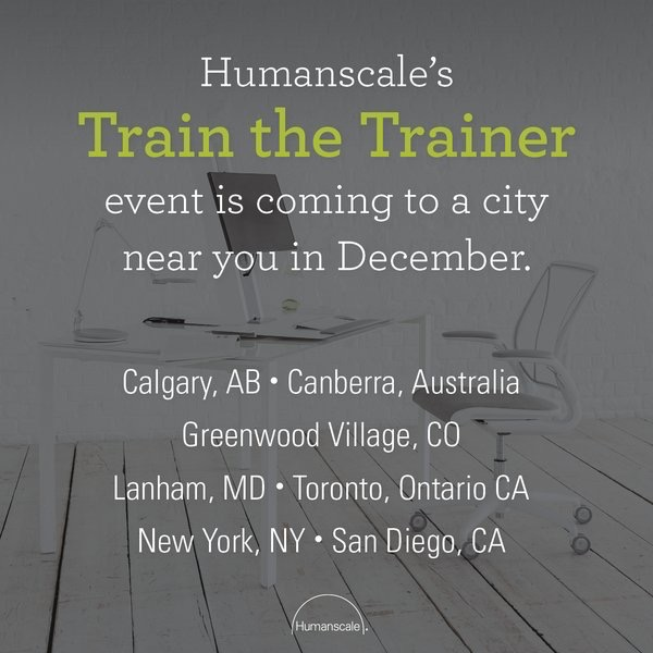 humanscale  Add Certified Office Ergonomics Evaluator to your repertoire of skills! Find a workshop near you: bit.ly/2f1hrNr pic.twitter.com/ZrwfVy3v0b  Nov 9, 2017 at 9:00 AM