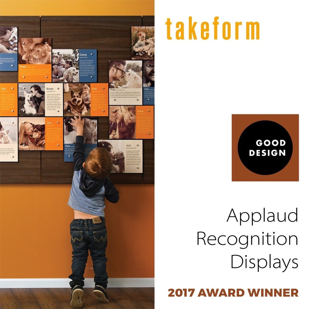 Takeform Takeform has received a 2017 GOOD DESIGN® Award for Applaud Recognition Displays.The GOOD DESIGN® Awards program is for the most innovative and cutting-edge industrial, product, and graphic designs produced around the world. takeform.net/products/appla… good-designawards.com/about.html pic.twitter.com/mFbN5g4zQ5 Dec 15, 2017 at 8:26 AM