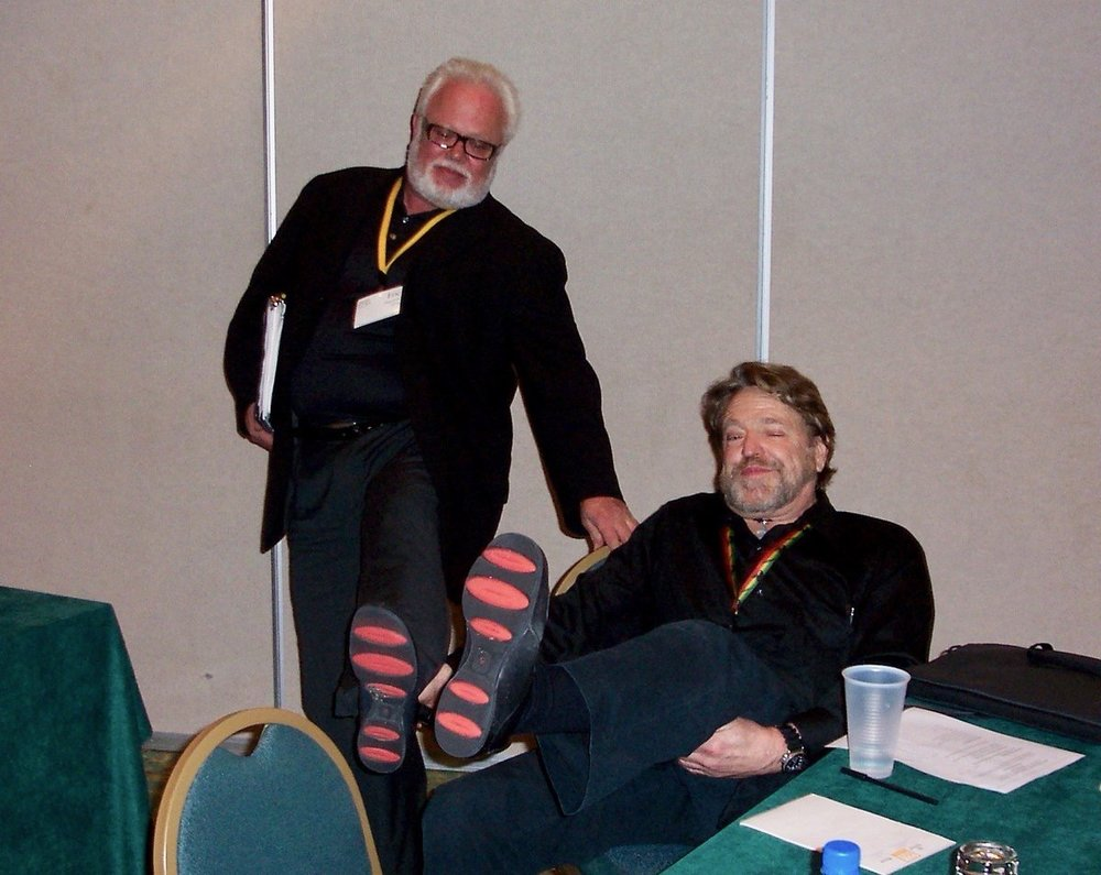 BIFMA  Champion Of The Internet And Grateful Dead Lyricist John Perry Barlow died last week at age 70. Here he is at the 2006 BIFMA Leadership Conference with interior design legend Eric Engstrom, showing off their footwear... sole brothers! NPR Remembrance: npr.org/2018/02/08/584… pic.twitter.com/PNyfkWfieX  Feb 16, 2018 at 9:36 AM