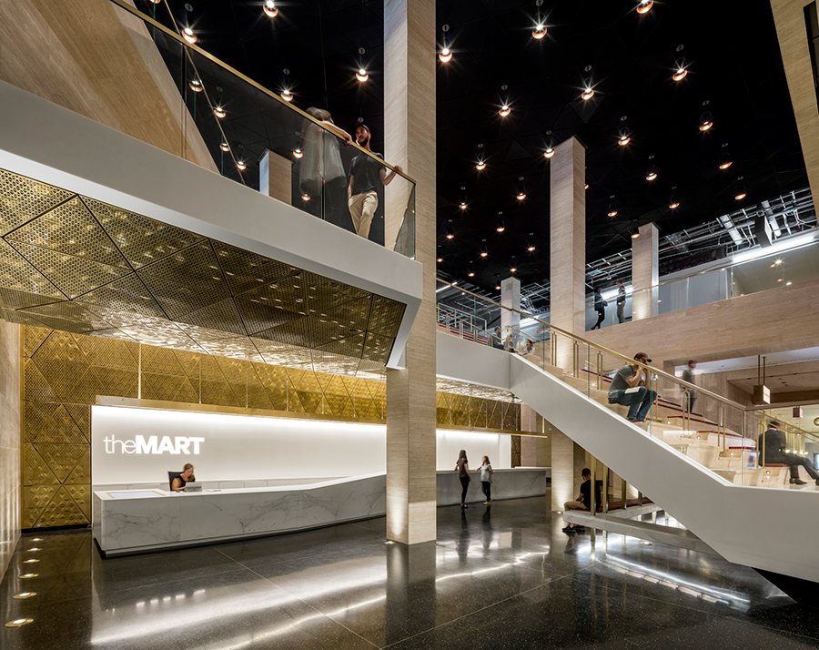 The new lobby at the Mart, in Chicago's Loop, was also designed by A+I    Courtesy Magda Biernat