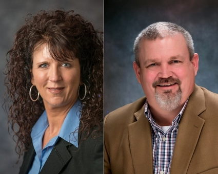 Hope Roadcap, left, and Michael Bistline are the new owners of Phillips Workplace Interiors in Lower Swatara Township.