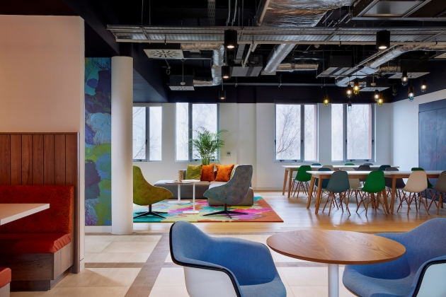 The office deploys a bright, variegated colour scheme. Photograph: Mark Cockse