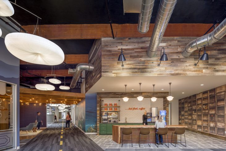 The office space at Behr Paint Company features two historic roads– Pacific Coast Highway and Route 66 – encouraging staff to move throughout the workspace while nodding to the company's California roots. Image courtesy of H. Hendy Associates.