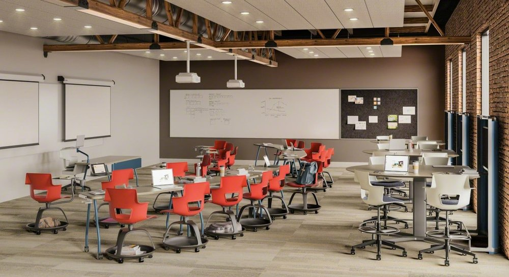 The wheeled bases of Shortcut Tripod Base Chairs make it possible for students to go from listening to a lecture to working together in an instant. Shortcut 5-Star Chairs are another excellent seating option for flexible classrooms.