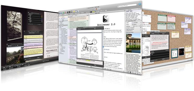 Immagini di alcune schermate di Scrivener