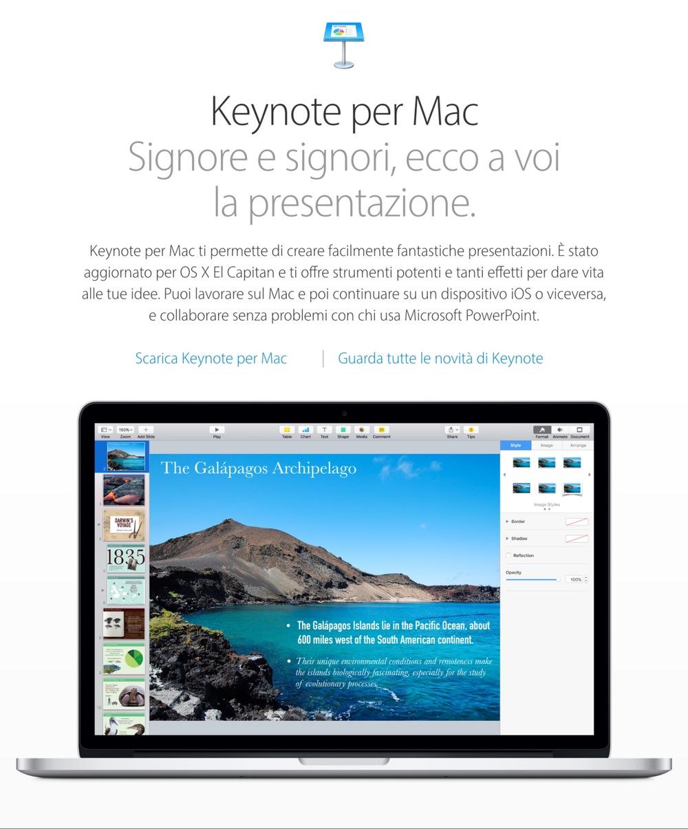 Screenshot della pagina introduttiva di Apple per Keynote