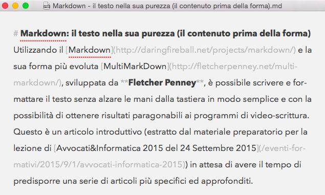Immagine del testo dell'articolo scritto in Markdown all'interno di Byword per Mac OS