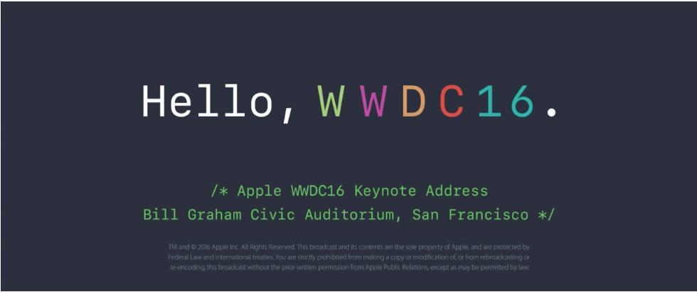 Presentazione WWDC16 - fonte Apple