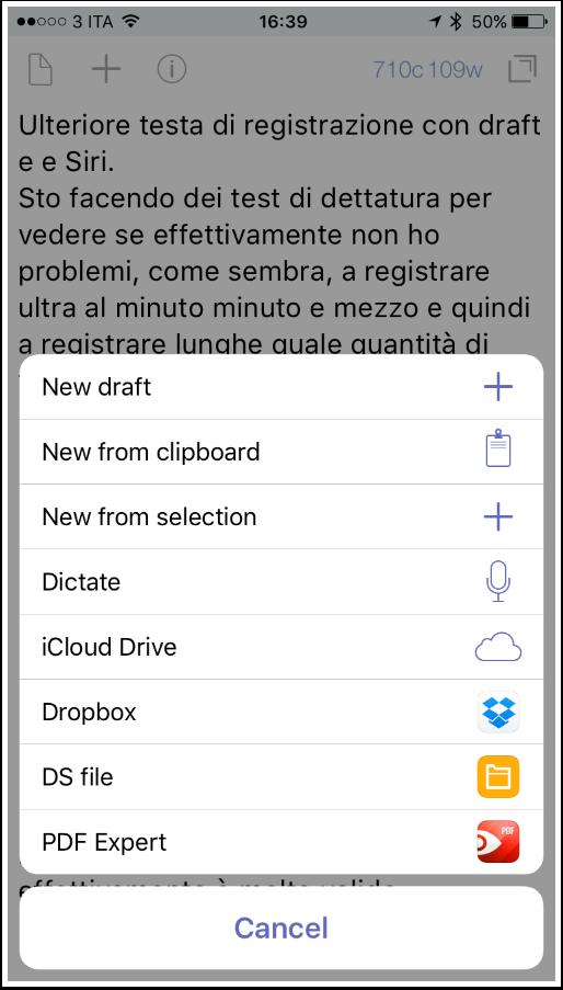 Interfaccia di Drafts 4.7 su iPhone