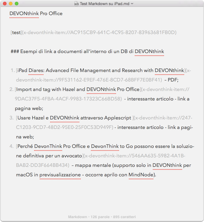 Documento in ByWord