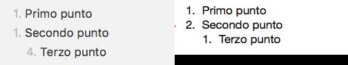 Esempio di elenco numerato con sotto-elenco (markdown a sinistra e visualizzazione a destra)