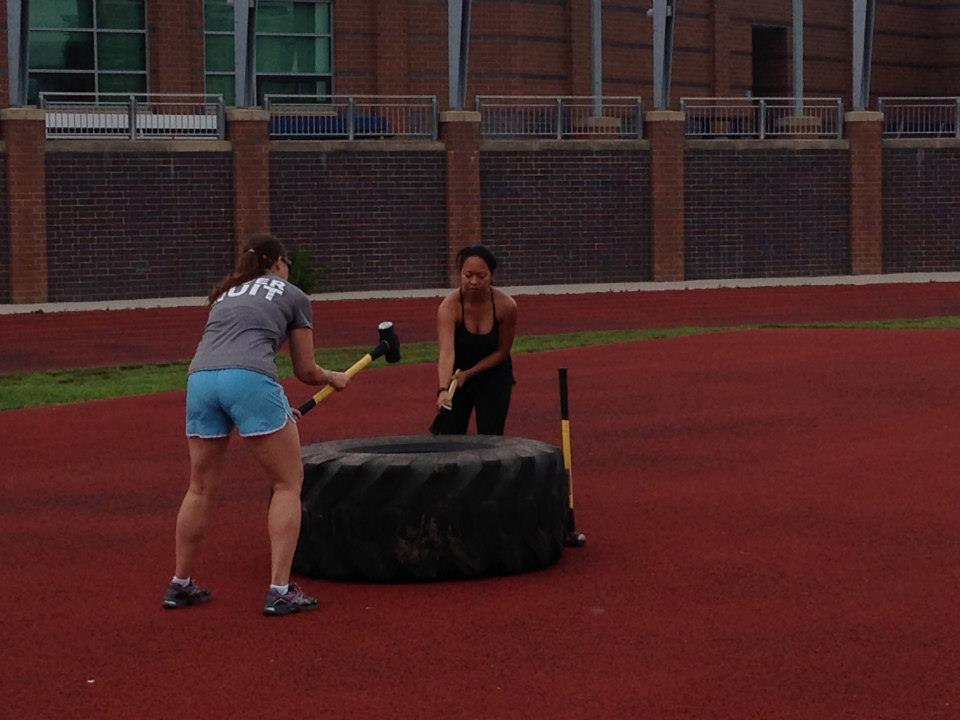 Me and my friend Gina taking out our D.C. traffic aggression in a boot camp class.