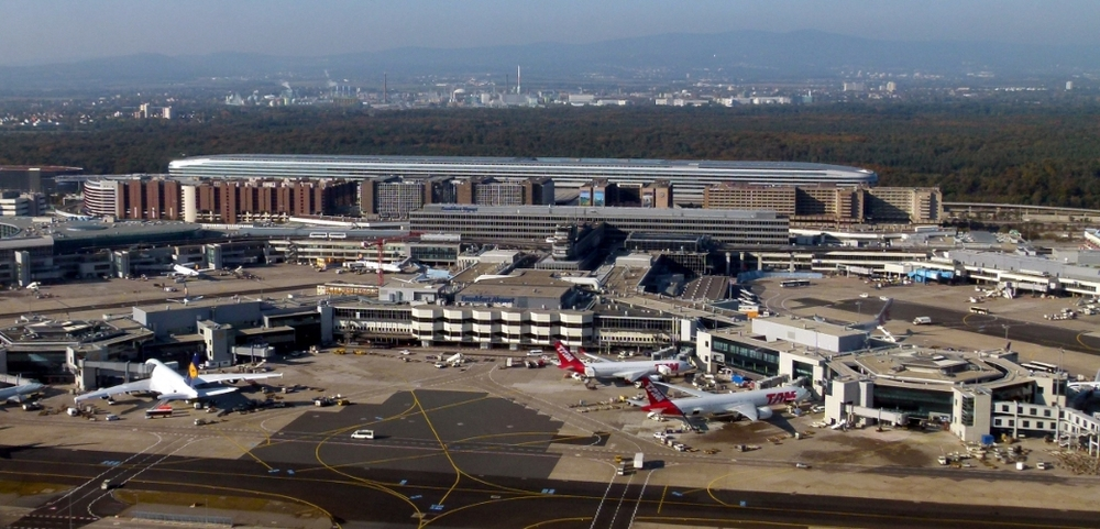 Aerial view of Frankfurt Airport, Terminal 1  Photograph by Brücke-Osteuropa