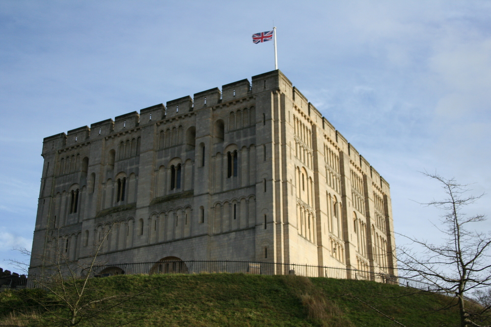 Norwich Castle, complete with the British flag on top, in perhaps the only two minutes of clear, sunny skies during our trip.