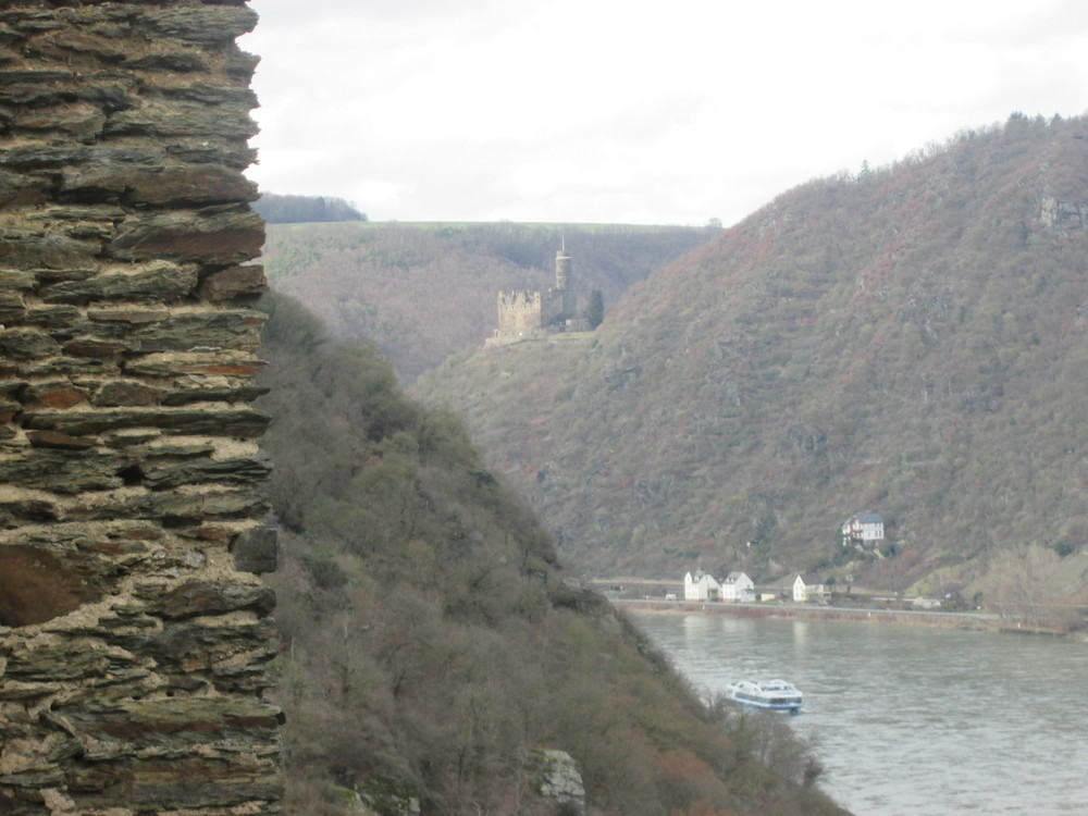 Burg Maus in the distance on the right bank of the Rhein.