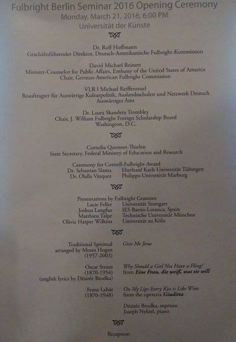 """Snapshot of the program for the Opening Ceremony of the Fulbright Seminar. Notice my name under """"Presentations by Fulbright Grantees""""!"""